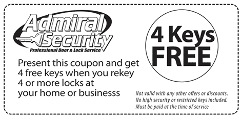 Coupon: 4 Keys Free when you rekey 4 or more home or office locks