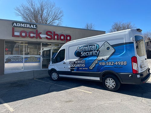 image of the Admiral Locksmith van in front of the Tulsa showroom