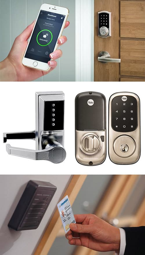 access control collage: SmartLock (top), keypad locks (middle), keycard reader in office  (bottom)