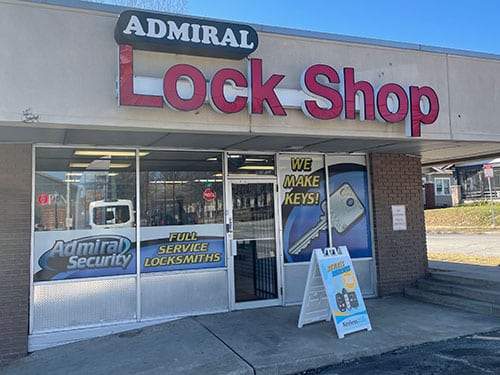 front of Admiral Security storefront