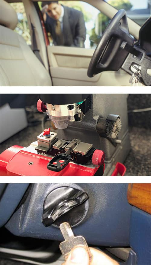 Image of a man who locked his keys in his car (top) a car key being cut on a laser cutter (middle) and a key broken off in the car's ignition (bottom)