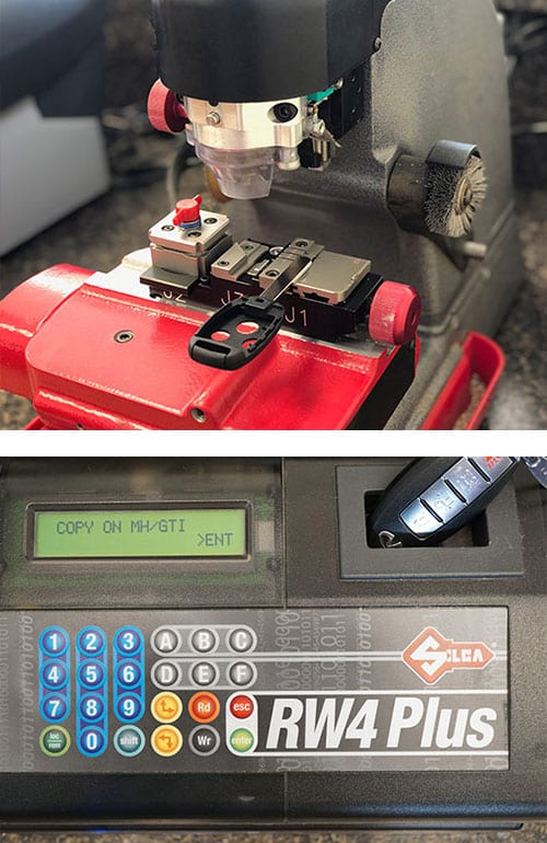 A transponder head key being cut (top), and a Nissan fob being programmed (bottom).
