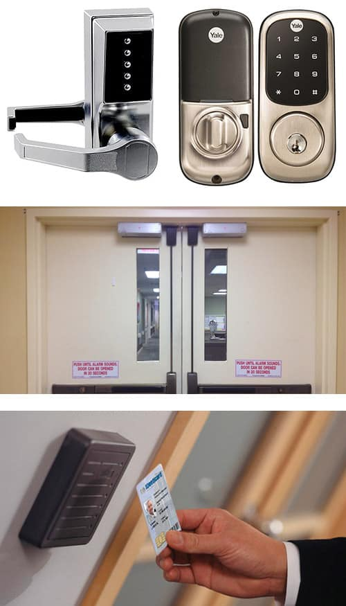 keypad locks (top), commercial doors with crash bars (middle), and an access control system with key card reader (bottom)