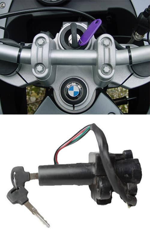 image of a BMW motorcycle with a brand new key in the ignition (top) and a motorcycle ignition (bottom)